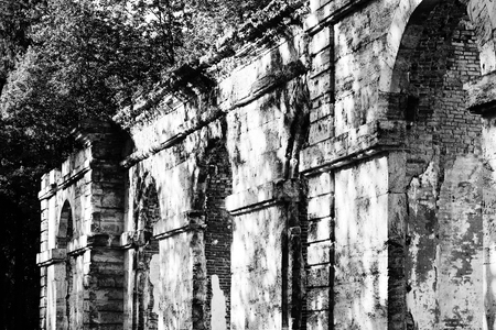 forestry: black and white photo dilapidated building forestry greenhouse in the palace park buildings date 18th century, Gatchina, Russia Stock Photo