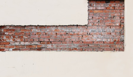 strictly: texture red brick and pink plaster, which is treated in a strictly geometric form for further repairs.