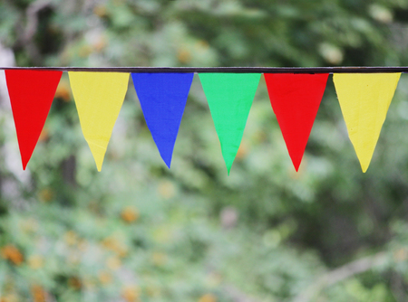 whiff: Multi Colored Triangular Flags Hanging in the Sky at an Outdoor against the backdrop of a green grass.