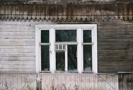 artsy: artsy decor trim and classic old wooden house. triangular patterns and wood texture old wood color Stock Photo