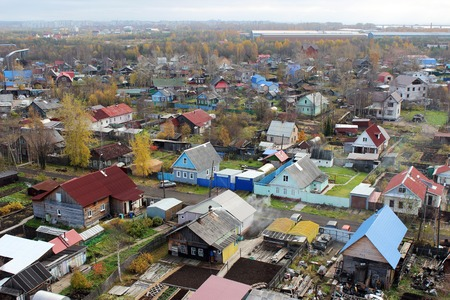 small houses: many colorful small houses in Arkhangelsk birds-eye view Stock Photo