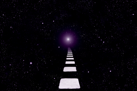 space with stars and white road markings and one pale blurred star Imagens