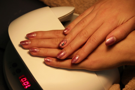 ready manicure shellac. color shellac pink gold