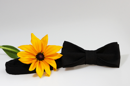 Composition: Extravagant black official classic bow tie and yellow flower on a white background.