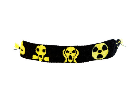 yellow bouquet with black color bauble depicts a gas mask, a screaming man and a radiation hazard sign on a white background. handmade