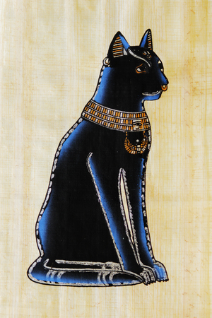 The Egyptian goddess Bastet is depicted on a real Egyptian papyrus.