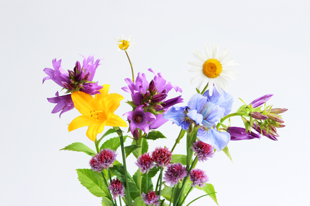 a bouquet of different wild field and garden flowers: chamomile, bell, lily, chives, iris. Stok Fotoğraf