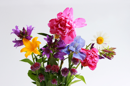 a bouquet of different wild field and garden flowers: chamomile, bell, lily, chives, iris, peony. Stok Fotoğraf