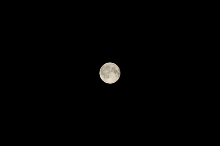 Bright full moon against the black night sky Stock Photo