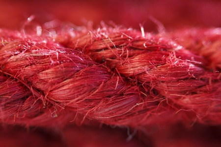 One skein of jute rope six millimeters for Japanese bondage and shibari, painted in red