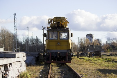 special equipment for maintenance of the railway. Russia. Stock Photo