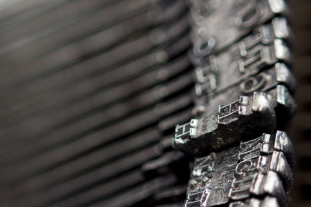Hammers with letters, numbers and punctuation. Internal structure of the old Soviet typewriter close-up.