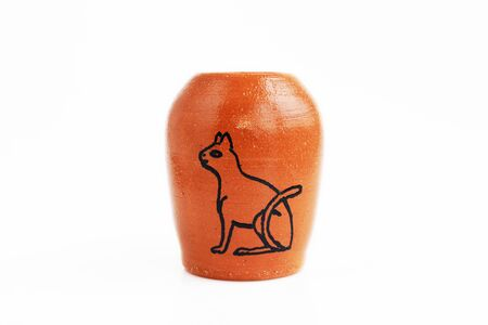 decorative clay vase with the ancient Egyptian hieroglyph Cat . Made by hand on a potters wheel. In a single copy. Suitable for decorating the table and storing stationery. Handmade, OOAK.