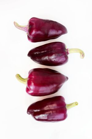 four violet peppers on a white background. vertical. Stok Fotoğraf