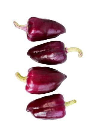 four violet peppers on a white background. isolated. vertical.