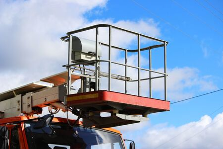 cradle and elevator on a machine for high-altitude work. construction and repair equipment