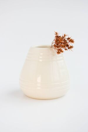 white clay vase and dried flower on a white background. minimalism style. handwork. vertical photo