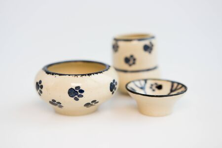 small children's dishes with cat footprints. vase, pot and plate. author ceramics, only one a kind.