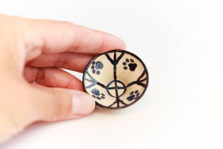 small childrens dish with cat footprints. mini plate. author ceramics, all in one copy