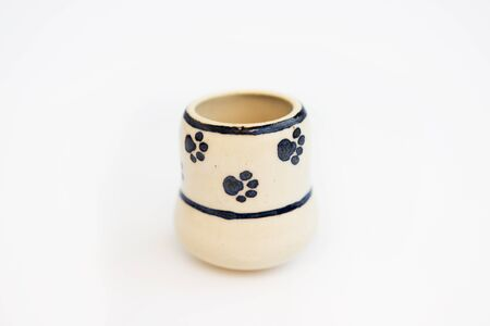 small childrens dish with cat footprints. mini vase. author ceramics, all in one copy.