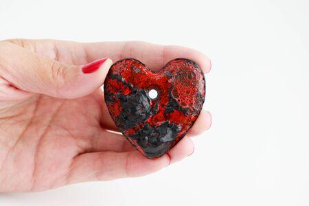black and red ceramic heart. two glazes, handmade, ooak.