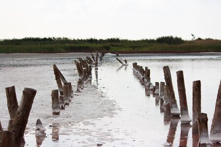 pink salt lake with the remains of bridges along which salt was transported during its production. Stok Fotoğraf