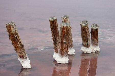 pink salt lake with the remains of bridges along which salt was transported during its production. 写真素材