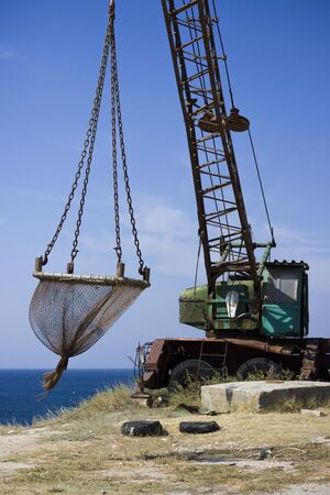 old fishing trawl with a net for pulling fish. Russia.