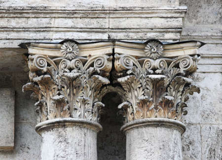 old baroque columns on a historic building that is in disrepair. Russia. elements of architectural decorations of buildings, columns. Standard-Bild