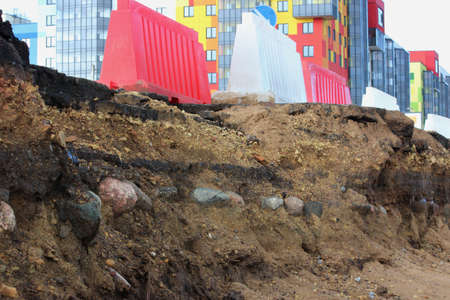 historical layer of the road, discovered during the expansion and repair of the road in Gatchina, Russia