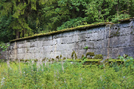 ancient wall that separates two parts of the park from each other. Eighteenth century. Stone and history