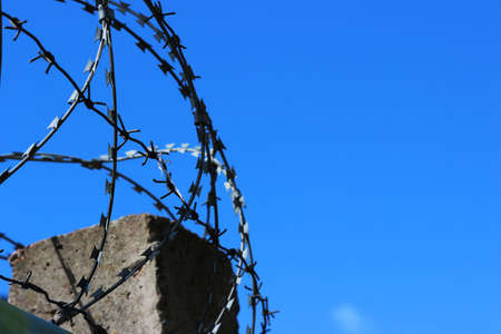 barbed wire on a background of clear sky. Prison and freedom concept.