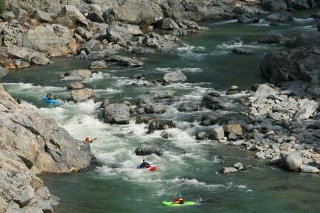 sierras: river kayaking in the sierras  Stock Photo