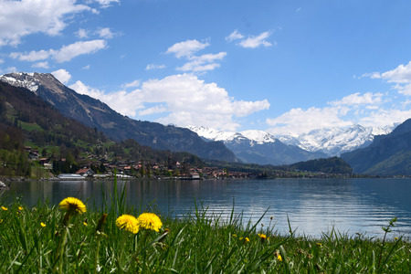 cloud capped: Sunny Spring Day at Lake Brienz in Interlaken Switzerland