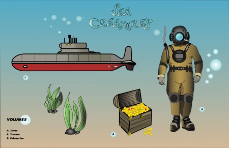 diver with treasure and submarine