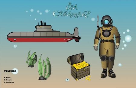 duiker met schat en onderzeese