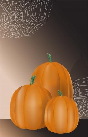 spider webs: three pumpkins with spider webs