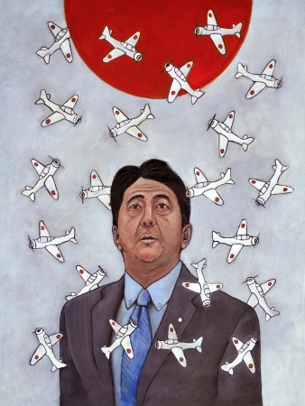 Japanese Prime Minister Shinzo Abe looking up at a rising sun surounded by fighter planes
