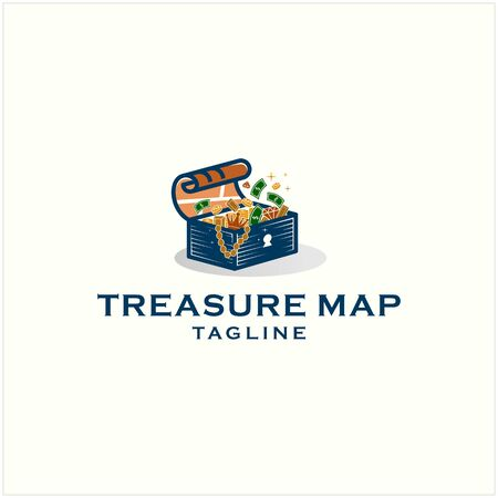 treasure trove box  illustration  design template premium Illustration