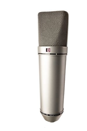 dubbing: microphone for a porfessional singer in a studio isolated Stock Photo
