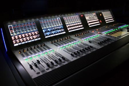dubbing: professional audio mixer for you music Stock Photo
