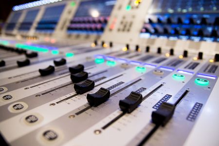 dubbing: sing a song with mixer Stock Photo