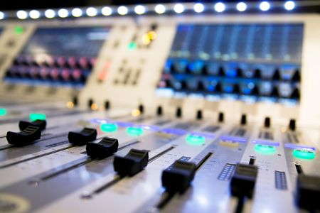 dubbing: mixer audio Stock Photo