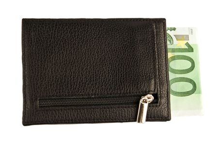 wallet with banknote isolated photo