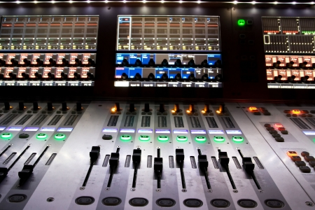 dubbing: professional audio mixer in a recording studio Stock Photo