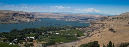 mount hood: View from Stonehenge of the Columbia River with Mt Hood as a background