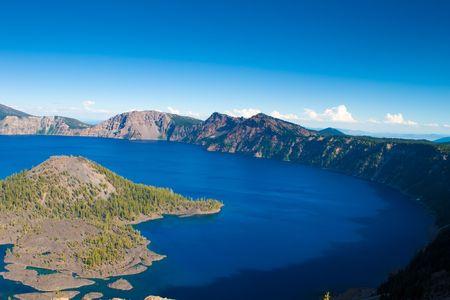 explotion: Sun rising on wizard island, Crater Lake, Oregon Stock Photo