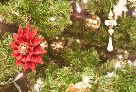 lit up christmas tree with many different typoes of decorations Stock Photo - 8567184