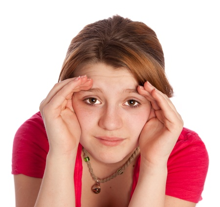 blinders: young girl isolated on a withe backgroung using her hads as blindres