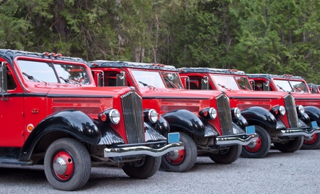 line of restored old 1930s trucks used as tour buses today